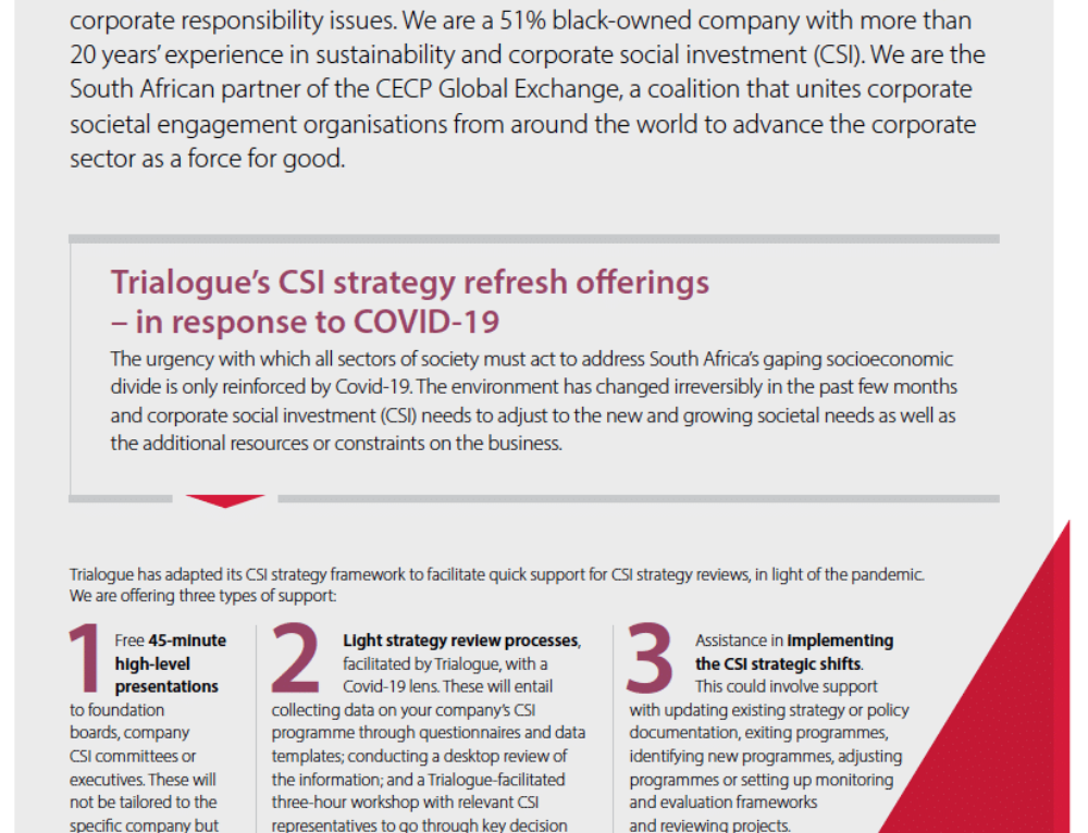 Trialogue's CSI strategy refresh offerings in response to COVID-19