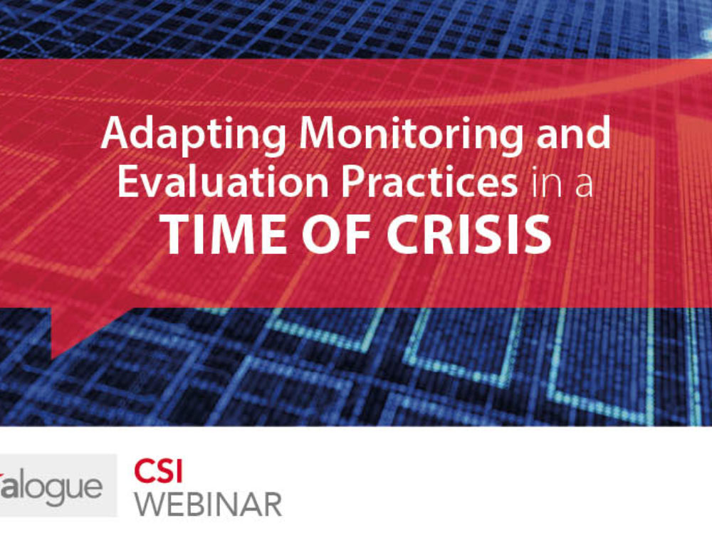 Adapting monitoring and evaluation practices in a time of crisis